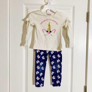 Unicorn Leggings and Long Sleeve Shirt Size 6